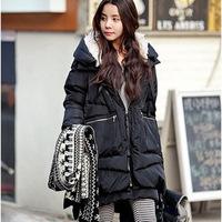 New 2014 Fashion Brand Long Winter Coat Women White Duck Down Jacket Female Coats With Hood Army Green Black Outwear For Women