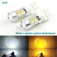 Excellent 2 pcs Dual Color Switchback 3157 5630 SMD 20 LEDs light bulb lamp,front turn Signal light,White + Amber Color