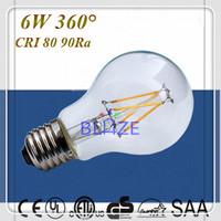 Wholesale 50pcs/Lot  Energy Saving E27 E26 B22 LED Filament Bulb 6W 100LM/W 360 Degree Warm Cold White lamp
