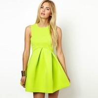 Free International 2014 latest European style folding AQ lemon sweetheart sleeveless style high-back sexy dress