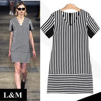Summer 2014 Dress V-neck Large size women Black and white stripes Short sleeve New Wholesale women clothing Fashion dresses