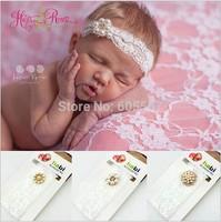 10 pieces / lot 2014 New Fashion Alloy Rhinestone Pearl Baby Headband & Girls Lace Headband 0088
