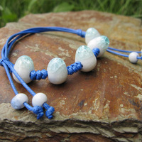 Fashion Rope Chain Ceramic Beads Bracelet Light Blue White Very Beautiful for Kids for Adults #A00127