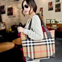 2014 New Fashion plaid women's handbag British Style Canvas Shoulder Bag Female messenger bag High Quality large bag
