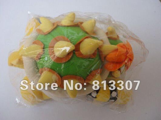 "Super Mario plush toys 10"" int Koopa Bowser dragon plush doll Brothers Bowser JR soft Plush(China (Mainland))"