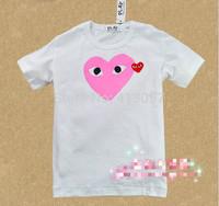 2014 play summer short-sleeve T-shirt male Women cotton white blue heart lovers