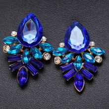Design Lady Bib Statement clear crystal long Ear  earring hot  free shipping e374(China (Mainland))