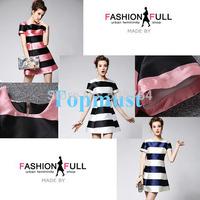Top Quality  S/M/L  2014 New Fashion Spring Summer Girl Cute Party Striped Women Hollow Out Dress Chiffon Mini Shift Dress