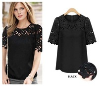 Super Cheap Top Quality Plus Size Hollow Short Sleeve Lace Chiffon Blouse for Women Fashion Lady Tops Blousa Free Shipping