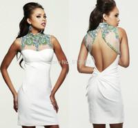 Fantasy Sheath Sexy High Neck Sleeveless White Mini Dress Girl Prom Dresses Short 2014 luxury Beaded Rhinestones Crystals