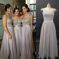 2014 Vintage Embroidery Vestidos Real Chiffon Silver Bridesmaid Prom Dresses Cap Sleeves