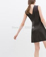 Free shipping !  2014 Girls  Sleeveless V-neck Pu Leather Slim fit Dress ladies fashion dress evening dress