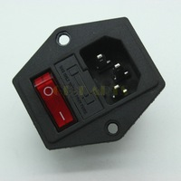 Free Shipping 5PC ICE320 C14 Power Socket Inlet Wth Fuse Holder&Red Light On-Off Rocker Switch
