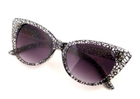 2014 NEW! TRANSPARENT Crack Sunglass Beautiful Shades!Cateyes Vintage Inspired Mod Chic High Pointed Sunglasses eyewear with bag