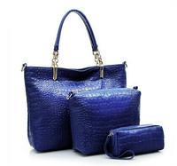New 2014 Fashion Women Handbag Crocodile Leather Shoulder Bag Famous Brands Women Messenger Bags 3pcs/lot Free Shipping