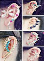 $12.9/2designs,women personality unique fashion rhinestone earrings,ear cuff