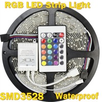Waterproof 3528 RGB Led Strip Flexible Light 60led/m 5M 300 LED SMD DC 12V IR Remote Control free shipping