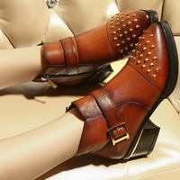 Free Shipping 2014 autumn and winter fashion genuine leather  thick heel rivet boots pointed toe martin boots