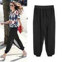 806S XXXL XXXXL 5XL Plus Size 2014 New Fashion European Style Loose Chiffon Woman's Ladies Wide Leg Hip Hop Pants Trousers