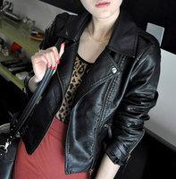 Jaqueta De Couro Feminina 2014 Autumn Winter Ladies Jackets Elastic PU Zipper Soft Slim Leather Jacket Women S-XXL WWP045