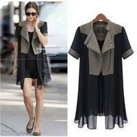 187K XXXL XXXXL 5XL Plus Size 2014 New Fashion Summer Autumn Chiffon Patchwor European Novelty Thin Women Air Conditioning Coat