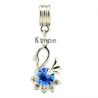 1 Piece , 2014 New Arrival 925 Silver Beads,Rhinestone Swan Pendants Fit Pandora Charms Bracelets ,Necklaces&Pendants , SPP030