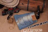 Free Shipping retail fashion 2014 high quality green cotton light blue brand men's jeans Man Pants Size 28-30