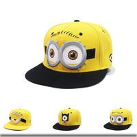 2014 Fashion Minions Snapback Hats Men's Women's Hip Hop Cartoon Baseball Caps Snap Back Hats Free Shipping