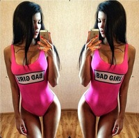 Free Ship retro new women's character personality BAD GIRL THE RULES letter print monokini one piece swimwear sexy bathing suit