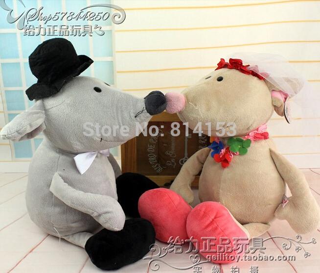 50cm NICI couple wedding mouse plush toys soft stuffed animal children dolls for best gift Free Shipping(China (Mainland))
