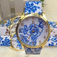 2014 New arrival hot fashion ladies flower design leather strap watches women's quartz analog vintage dress wristwatches WTH101