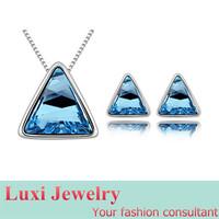 Triangle Luxury  Crystal Jewelry Set Necklace Earring Set Fashion European Statement Jewelry 2014