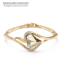 Neoglory Austria Crystal &Rhinestone Fashion Jewelry 14K Gold Plated Heart Bangles&Bracelets For Women Girls  2014 New For Love