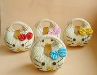 2014 new kitty hellokitty hand shoulder bag straw handbag tote kids children gift beach tote birthday gift
