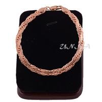 1pcs 7mm Men Womens 18k Rose Gold Filled Weave Bracelet Link Chain Jewelry Gift E177