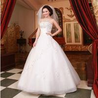 Fashion New Summer Diamond Sexy Strapless Lace Wedding dress 2014 Princess White vestido de noiva wedding dresses Bridal Gown W4