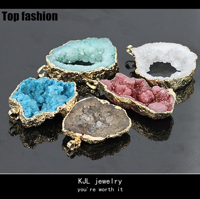 C-005 special natural quartz stone pendant,jewelry charm druzy stone slice,hole crystal druzy gem pendant &connector(China (Mainland))