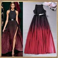 Free shipping fashion 2014 ruslana korshunova women's gradient color block pleated vest full dress placketing one-piece dress