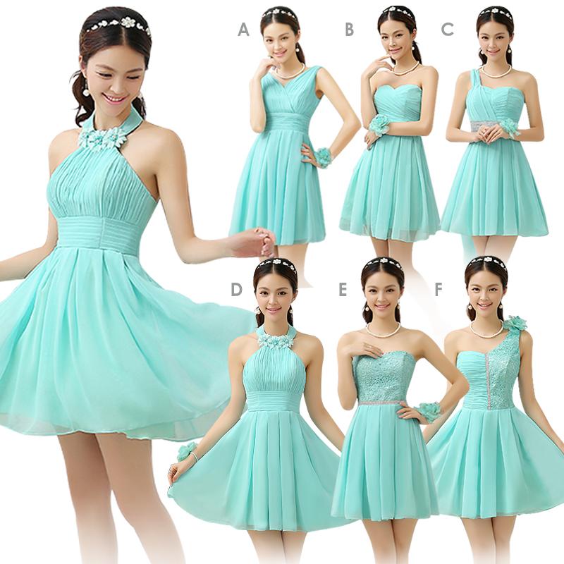 mint groene bruidsmeisje jurk korte ontwerp chiffon landelijke stijl ...