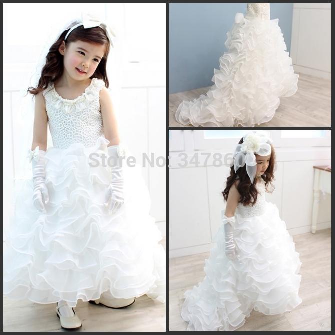 Lace Applique princesa Ruffled frisado Long Train vestidos de festa branco vestido da menina flor para o casamento 2015 vestido daminha(China (Mainland))