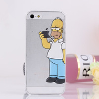 Clear Transparent Simpson Case Cover For iPhone 5 5S 4 4S Hard Cell Phone Cases Covers 1pcs/lot