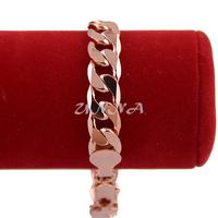 1pcs 12mm Big Bracelet  Men Womens 18k Rose Gold Filled Curb Bracelet Link Chain E179