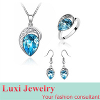Luxury  Crystal Jewelry Set Necklace Earring Ring 3 pieces Set Fashion European Statement Jewelry 2014