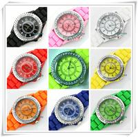 Free Shipping 2014 Women Watches Geneva Silicone fashion Geneva watch fashion silica gel jelly diamond quartz watch