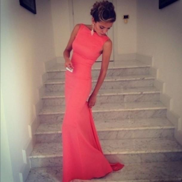 новые сексуальные длинные спинки платья футляр облегающая высокой шеи коралловые Платье вечернее свадебное платье lq9342