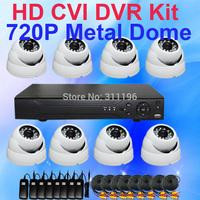 Mega Pixels 720P HD CVI DVR Camera CCTV System with 4PCS 720P Metal Dome IR Indoor Security Camera