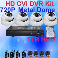 4CH 720P HD CVR CVI IR Vandalproof Dome Analog Camera CCTV Kit with 1000GB Hard Disk for DVR Surveillance