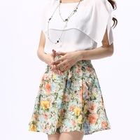 Korean Large Size Vintage Summer Pleated Skirts Sheer Floral Print High Waist Chiffon Skirt Women Skirts Female