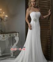 Fashion New Summer Wedding dress 2014 Sexy Strapless White Chiffon Bride vestido de noiva wedding dresses Bridal Gown Elegant W7