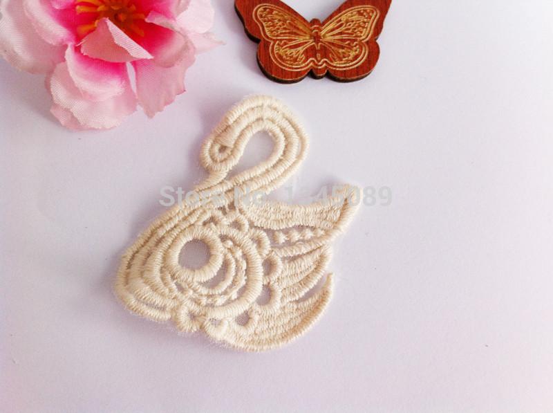 DIY Lace Pieces Beautiful Swan,Natural cotton color(China (Mainland))